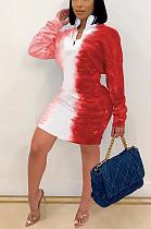 Сексуальное мини-платье с длинным рукавом и круглым вырезом с градиентным принтом SH7228