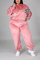 Casual Long Sleeve Spliced Hoodie Long Pants Plus Sets CCY1333