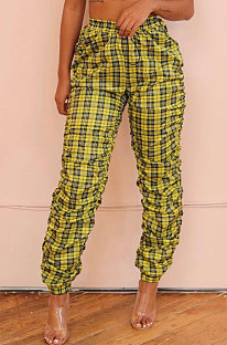 Casual Ruffle Plaid Mid Taillenhose D8348