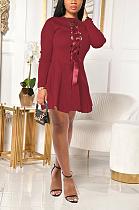 Сексуальное мини-платье с длинным рукавом и круглым вырезом с ремешком на спине SH7227