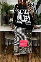 فستان طويل برقبة مستديرة وأكمام طويلة وطبعة فن البوب ملون ML7397