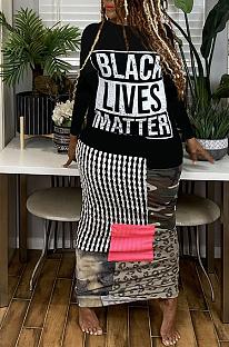 Elegant Colorblock Pop Art Print Long Sleeve Round Neck Long Dress ML7397