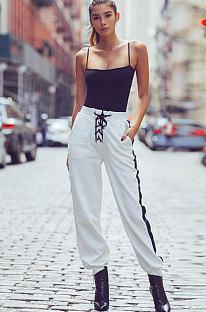 Street Cotton Eyelet Bind Hosen mit niedriger Taille D8043