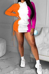 Fashion Color Matching Hooded Fleece mit mittlerer Taille und schulterfreiem Rüschenkleid DR8064