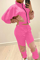 Casual Color Matching Long Sleeve Zipper Sport Two-Piece YSS8052