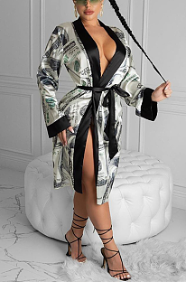 Casual Dollar Graphic Long Sleeve V Neck Spliced Drawstring Waist Bathrobe Pajamas Longline Top ZS0360