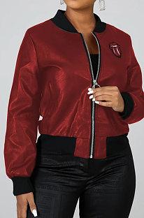 Mode Perlenstück Große Zunge Reißverschluss Mantel WY6638