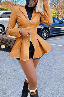 Casual Long Sleeve Lapel Neck Zippers Flounce Peplum Top Utility Blouse QQ5225