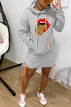 Casual Simplee Mouth Graphic Long Sleeve Hoodie Dress LM1058