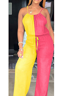Combinaison camisole décontractée sans manches à épaules dénudées avec lien à la taille et lien à la taille CL6057