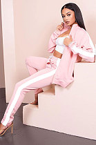 Fashion Casual Pure Color Spliced Ankle Strap Zipper Loose Jacket Sporty Long Pants Two-Piece SM9126