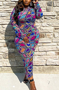Casual Modest Long Sleeve Round Neck Long Dress QZ4320