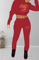 Sexy lettre bouche graphique à manches longues Crop Top Tee Top pantalons longs ensembles ZY3502