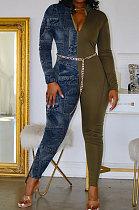 Sexy Imitation Jeans Spliced Zipper Combinaisons taille moyenne sans ceinture CYY8052