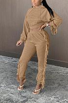 Ensembles de pantalons longs décontractés à manches longues avec ourlet à pampilles et poche oblique
