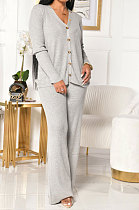 Cardigan Long Sleeve Pure Color Buttons Straight Leg Pants HM5395