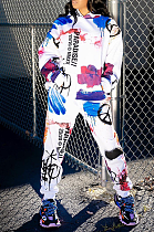 Casual Sporty Letter Pop Art Print Long Sleeve Hoodie Long Pants Sets MLM9027
