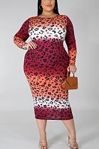 فستان طويل متواضع بياقة مستديرة وأكمام طويلة QZ3307