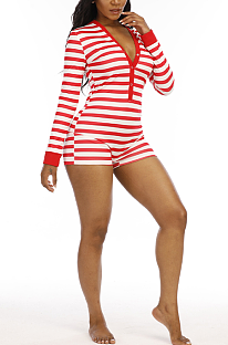 Casual Simplee Striped Long Sleeve Deep V Neck Romper Shorts N9258