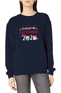 Casual Long Sleeve Round Neck Christmas Letter Print Hoodie WT20233