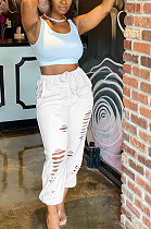Casual Sporty Elastic Waist Waist Tie Ripped Pants ALS227