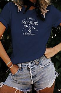 Рождественская повседневная футболка с короткими рукавами и открытыми плечами с надписью WT20310
