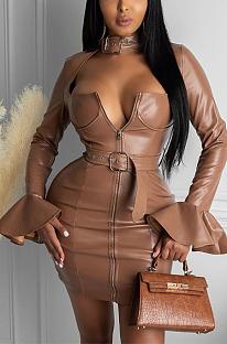 Sexy Pu Leather Long Sleeve Deep V Neck Flounce Belted Mini Dress LS6402