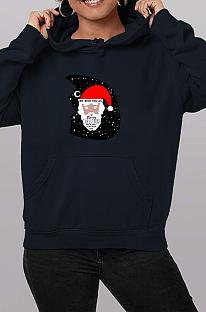 Sweat à capuche décontracté à manches longues et graphique de dessin animé du père Noël WT20187