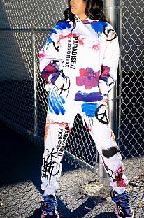 Casual Blazer Sporty Pop Art Print Long Sleeve Hoodie Long Pants Sets HH8950