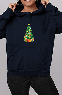 Casual Christmas Tree Cartoon Graphic Long Sleeve Hoodie WT20184