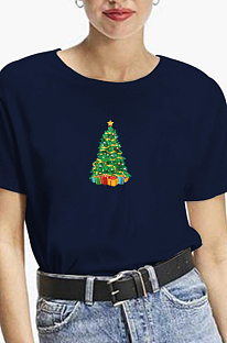 Casual Christmas Tree Cartoon Graphic Short Sleeve Round Neck Tee Top WT20179
