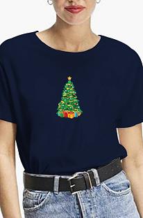 Повседневная футболка с короткими рукавами и круглым вырезом с рисунком рождественской елки WT20179