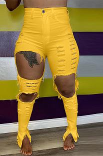 Modest Blazer Pure Color Ripped High Waist Long Pants LS6391