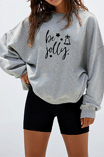 Christmas Cute Long Sleeve Be Jolly Round Neck Hoodie WT20228
