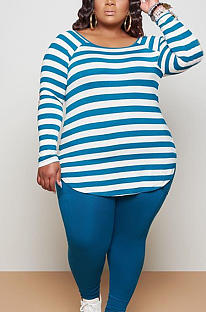 Casual Simplee Striped Long Sleeve Round Neck Long Pants Sets BDF8042