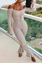 Combinaisons sexy à manches longues et épaules dénudées avec ceinture évasée JC7037