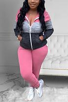 Casual Sporty Long Sleeve Spliced Waist Tie Long Pants Sets MTY6528