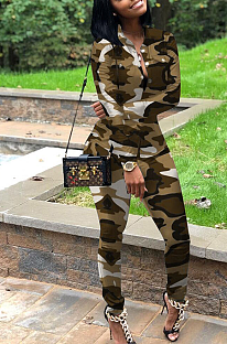 Street Style Camo Long Sleeve Round Neck Buttoned Long Pants Sets MTY6236