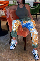 Casual Sporty Tie Dye Letter Sweat Pants NRS8029