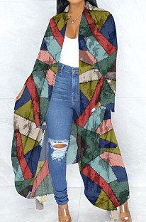 Impressão de personalidade casaco irregular de manga comprida solto longo PU6019