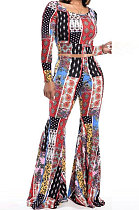 Casual Polyester Long Sleeve Printing Flare Leg Pants Two-Piece SXS6013