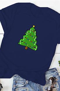 Повседневная футболка с короткими рукавами и круглым вырезом Christmas Tree Simplee WT20222
