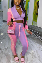 Casual Sporty Long Sleeve Spliced Crop Top Long Pants Sets AMM8297