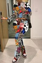 Casual Sexy Polyester Pop Art Digital Printing Long Sleeve Tee Top Long Pants Sets YSH6208