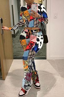 Conjuntos de calças compridas casuais sexy em poliéster pop art com impressão digital de manga comprida de manga comprida