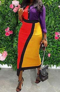 Moda casual feminina vestido multicolorido emendado MDF5187