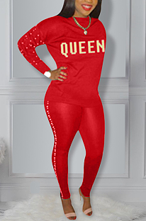 Elegant Pearls Letter Long Sleeve Round Neck Tee Top Long Pants Sets H856