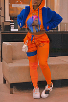 Sporty Figure Graphic Long Sleeve Waist Tie Hoodie Long Pants Sets AWL5820