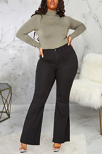 Casual Sexy Buttoned Mid Waist Flare Leg Pants Jeans SMR2379
