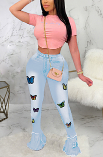 Casual Flounce Embroidered Long Pants High Stretch Jeans SMR2375
